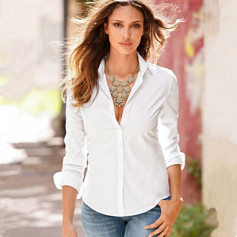 2018 New Women Slim Lapel Shirt Solid Button Long Sleeve Mujer White Shirts Turn-Down Collar OL Office Ladies Chemise Blouse Top