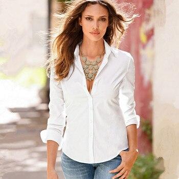 74a2c3df6863 2018 nuevas mujeres Slim solapa camisa botón sólido manga larga Mujer  blanco camisas Turn-Down Collar OL Oficina señoras camisa blusa