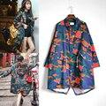 Женская мода Весна Осень Ветровка Дамы Полный Печатных Свободные Длинные Пиджаки Камуфляж Траншеи Cool Одежда Abrigos Mujer