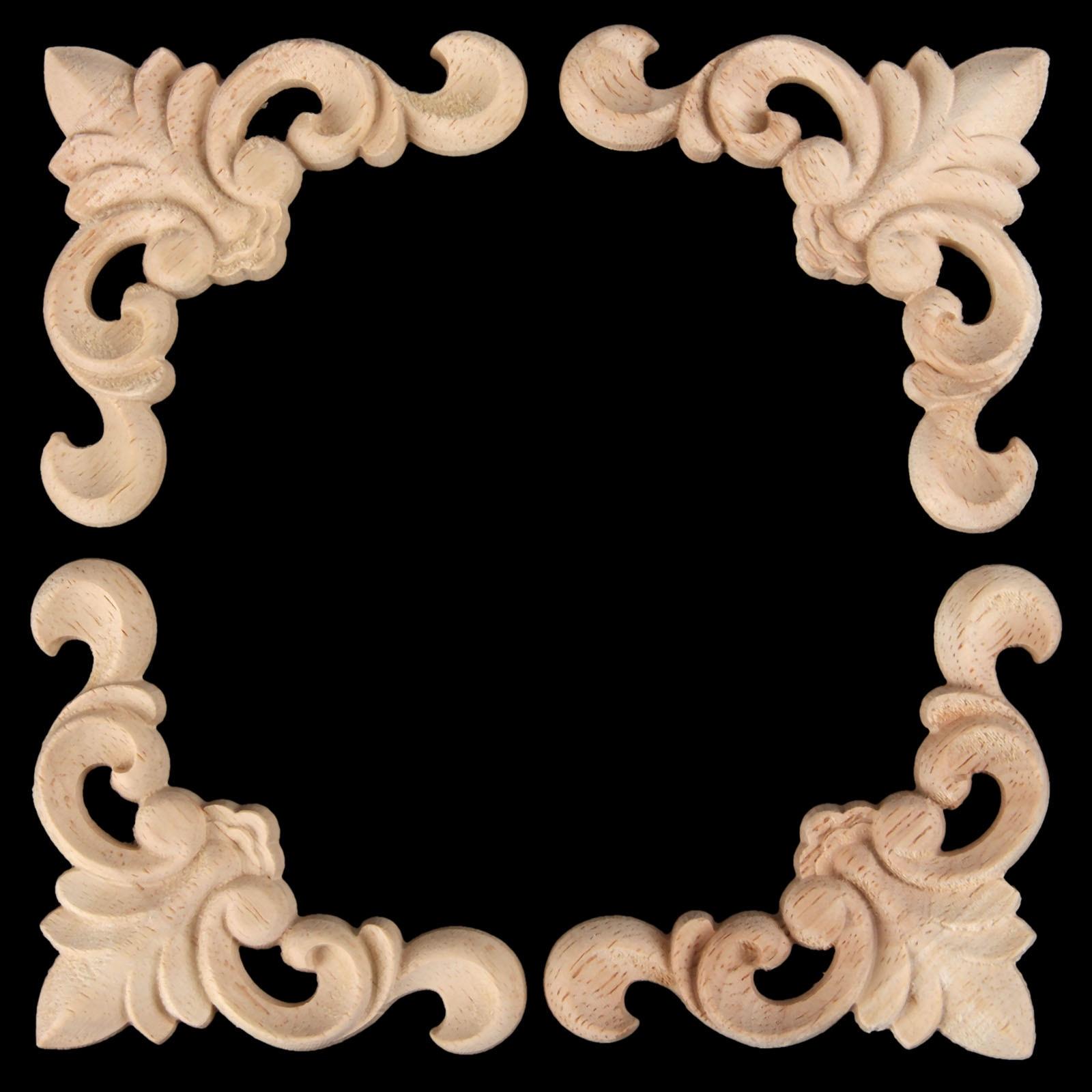 1 Stück Holzschnitzerei Aufkleber Ecke Applique Rahmen Tür Verzieren ...