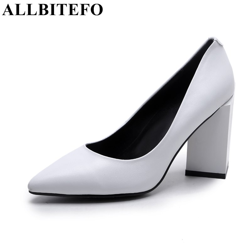 ALLBITEFO thick heel genuine leather pointed toe office ladies shoes woman fashion sexy high heels high quality women pumps  allbitefo fashion sexy thin heels pointed toe women pumps full genuine leather platform office ladies shoes high heel shoes