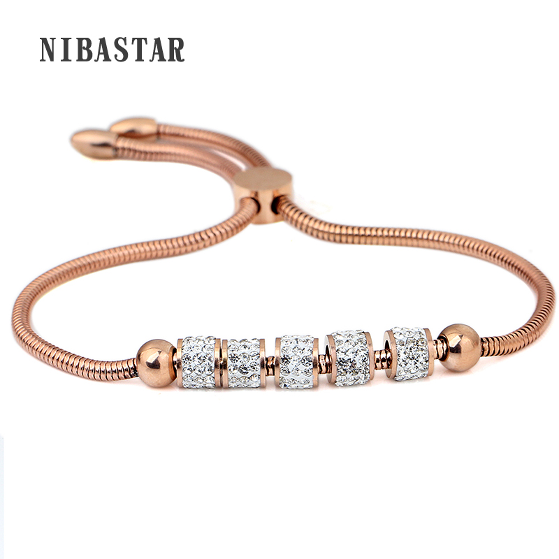High Quality Adjustable Bracelet for Women Silver/Gold/ Rose Gold Color Cubic Zirconia Bracelets & Bangles Chain Jewelry