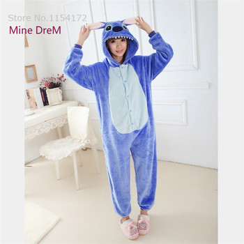 f43f983821 Kigurumi Blue Stitch Onesies Pajamas Cartoon Animal Cosplay Pyjamas Adult  Onesies Costume Party Dress Halloween Pijamas