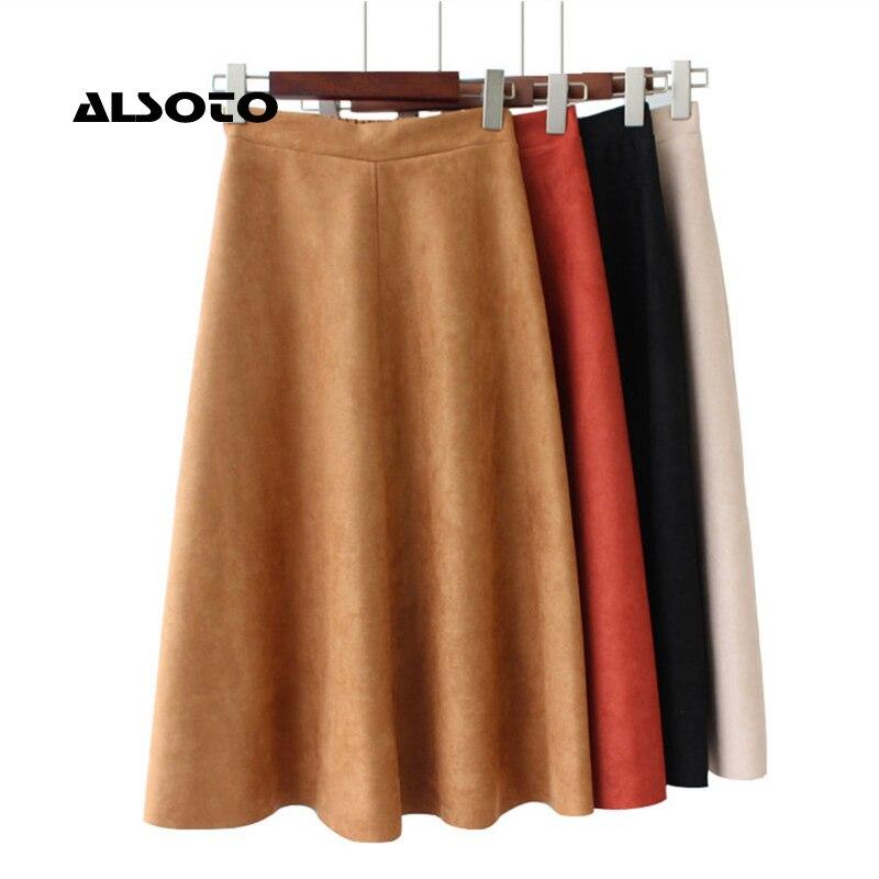 Women Suede High Waist Midi Skirt Winter Vintage Style Pleated Ladies A Line Black Flare Skirt Faldas Mujer Moda Skirts Womens