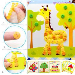 Дети DIY наклейки для кнопок игрушки для рисования забавная игра ручной работы школа книги по искусству класс живопись Рисование Craft Kit детей