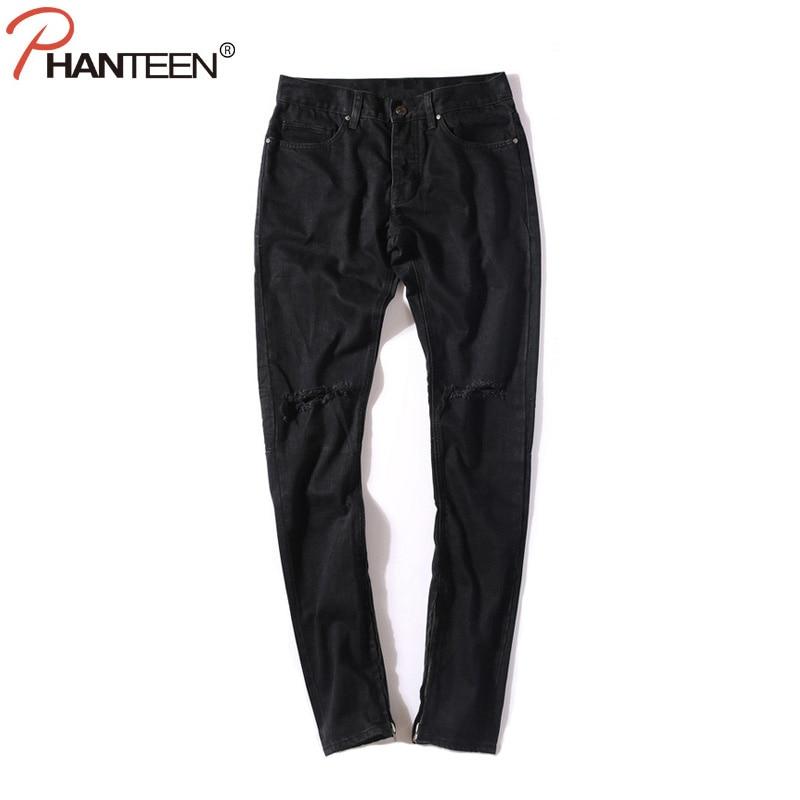 Kanye Justin Bieber Men Black Jeans Knee Ripped Hole Side Zipper Casual Slim Fit Jeans High Quality Hiphop Fashion Men Clothing ушм bosch gws 20 230 h