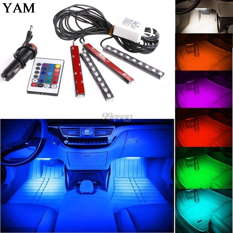 2017 7 Color Flexible Car Styling RGB LED Strip Light Atmosphere Decoration Lamp Car Interior Light with Remote Control 4 in 1 12v auto car atmosphere light interior floor dash decoration light foot led lamp bar 9 leds with cigarette lighter