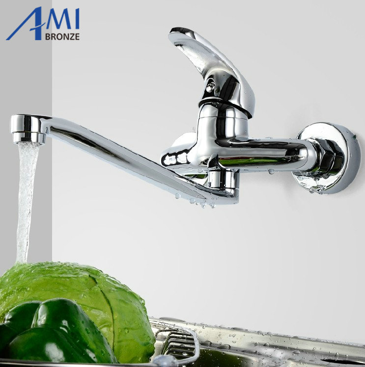 Kitchen faucets wall mounted faucet cold and hot water mop mixer tap ...