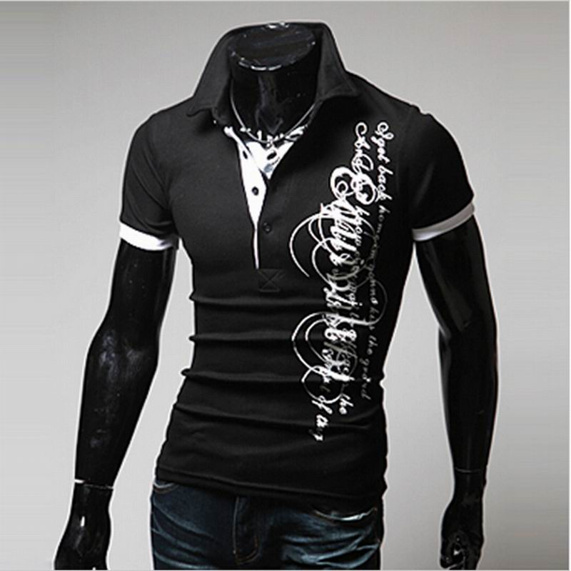 fa313409355 Летние Моды для Мужчин Короткий Рукав Рубашки Досуг Письма Печатаются мужская  Рубашка M ~ XXXL