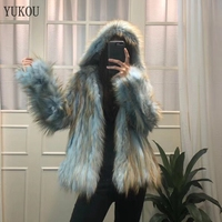 Natural Fox Fur Coat Women 2018 Winter Warm Soft Real Fur Coats Raccoon Jackets Female Overcoat Have A Hat Outerwear 4 Colors