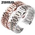 O envio gratuito de Alta qualidade novo rose gold relógios pulseira com aço inoxidável watchband extremidade curva para L2 buckle19mm 20mm