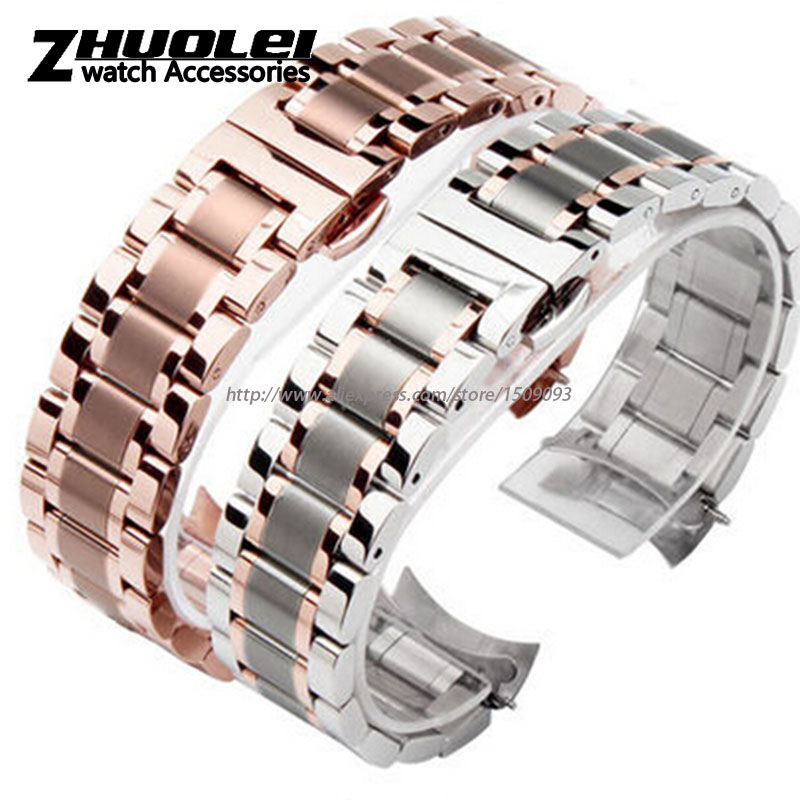 free shipping new High quality rose gold curved end watchband for L2 watches bracelet with stainless steel buckle19mm 20mm столовые приборы 24 предмета vitesse vs 1795