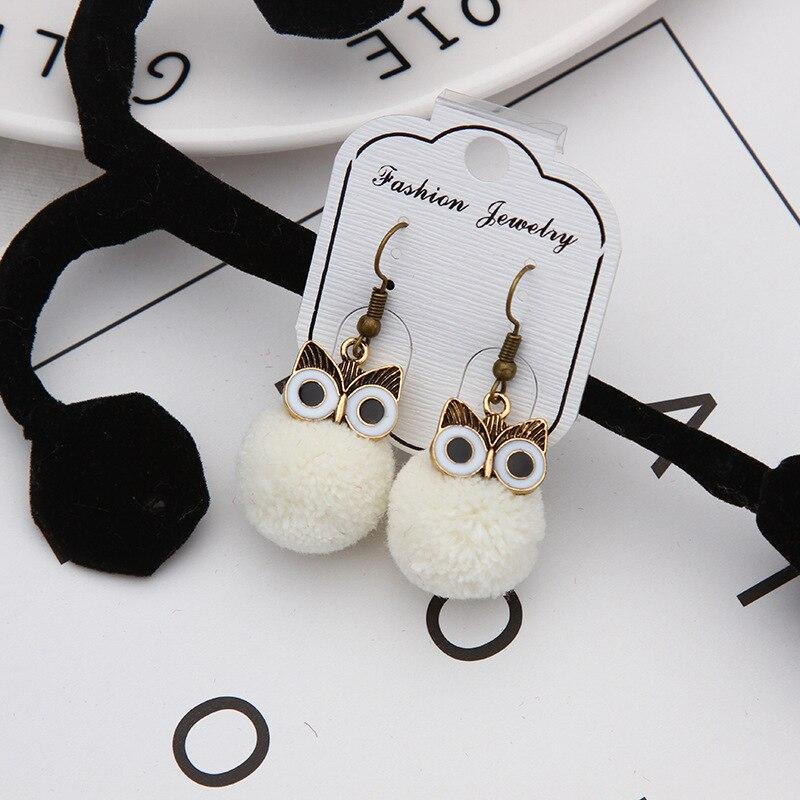 Women Cute Plush Owl Earrings Fur Pompom Ball Small Earrings Fashion Dangle Earrings For Women in Drop Earrings from Jewelry Accessories