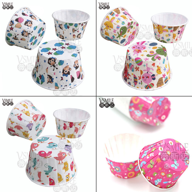 100pcs Colorful Farm Animals Flowers Themes Cupcake Liners Cups