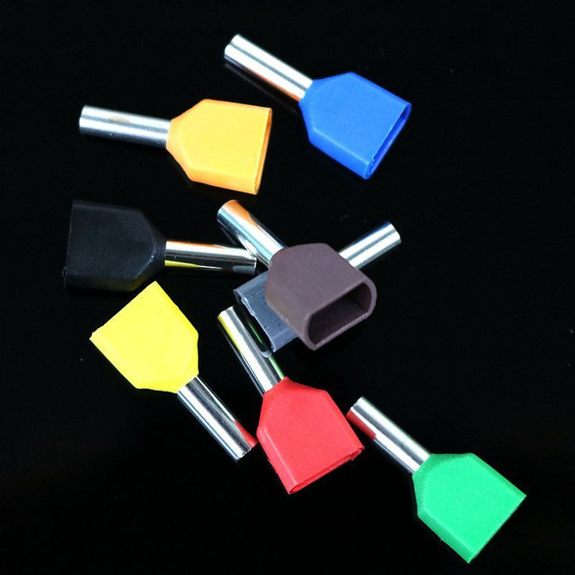 100PCS/ LOT TE1508 Insulation terminal cold pressed end double line tube shaped pre insulated end head  tubular terminal