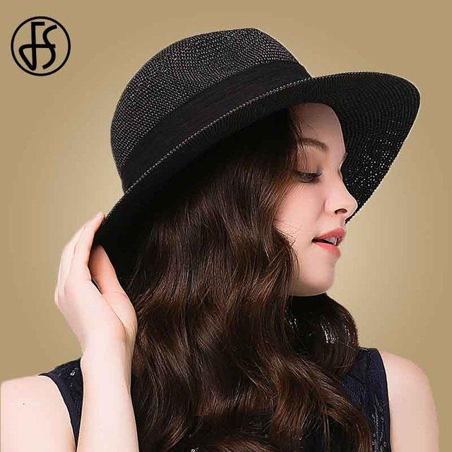 0671a5cf098f2 FS Women Wide Brim Sun Hat Fedora Black White With Ribbon Girls Straw Hats  Summer Beach