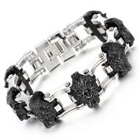 New Stainless Steel bracelet Motorcycle Chain Black Gold Lion Biker Jewelry Mens Party popular bracelet free shipping