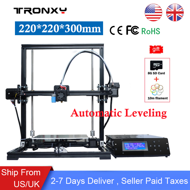 Tronxy 3d printer X3A Auto Leveling kit High Precision 220*220*300mm DIY 3D Printer Large Aluminium Metal Frame Reprap LCD Scree zonestar newest full metal aluminum frame big size 300mm x 300mm auto level laser engraving run out decect 3d printer diy kit