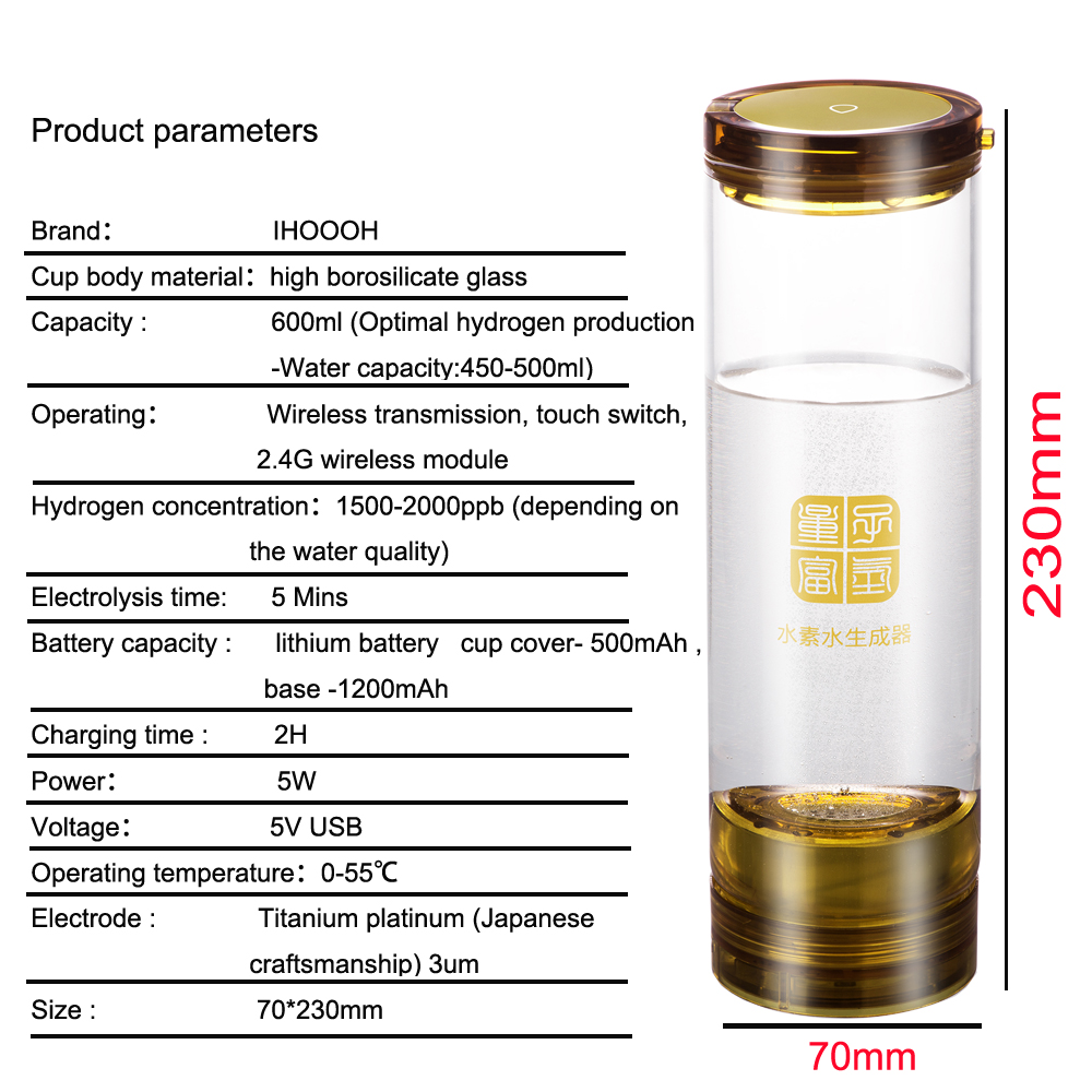 Rich Hydrogen Water Generator Electrolysis H2 Rechargeable Portable Ionizer Bottle Anti Aging 600ml With Acid Water Cavity
