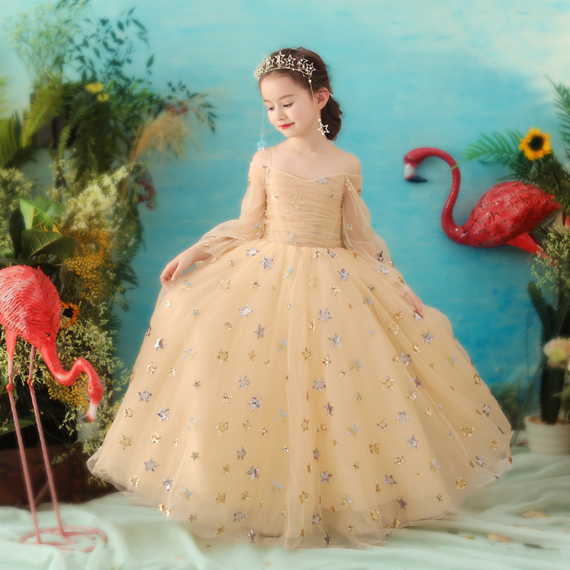 Printed Floral Girls Wedding Clothing Luxury Kids Girls Party Gowns Off shoulder Dresses Flower Children's Ball Gown Dress стоимость