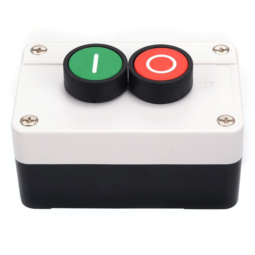 1pc White Push Button Station Switch Rectangle 1NO+1NC Remote Start Stop Motor Solenoid IP55 Button Box Mayitr Plastic Enclosure цены