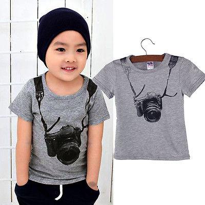 1 개 소년 캐주얼 Camara 티셔츠 아기 소년 패션 티셔츠 어린이 코튼 의류 티 셔츠 1-8Y
