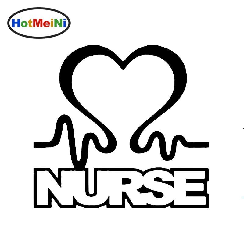 HotMeiNi 9.5*11cm Nurse Heart Vinyl Car Window Decal Cardiac Love Emt Lpn Rn Work Car Sticker Black/Sliver