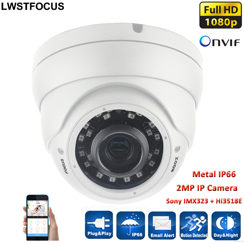 Varifocal Lens 2.8-12mm Dome Vandalproof IP Camera Indoor Outdoor 2.0MP 1080P SONY IMX323 ONVIF IOS Android P2P IP Camera CCTV