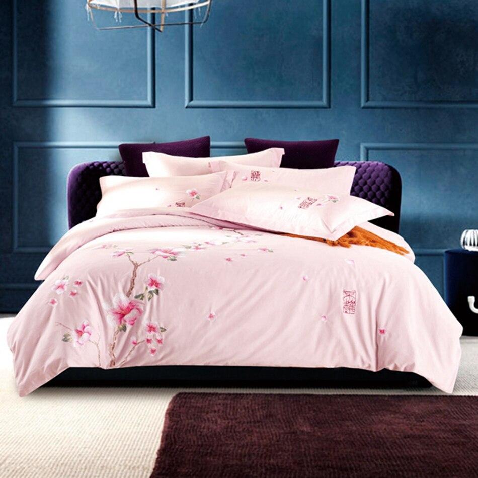 online get cheap flower bedspread aliexpresscom  alibaba group - sweet pink duvet cover flower bedspread pillowcase embroidery bedding setqueen king size  cotton
