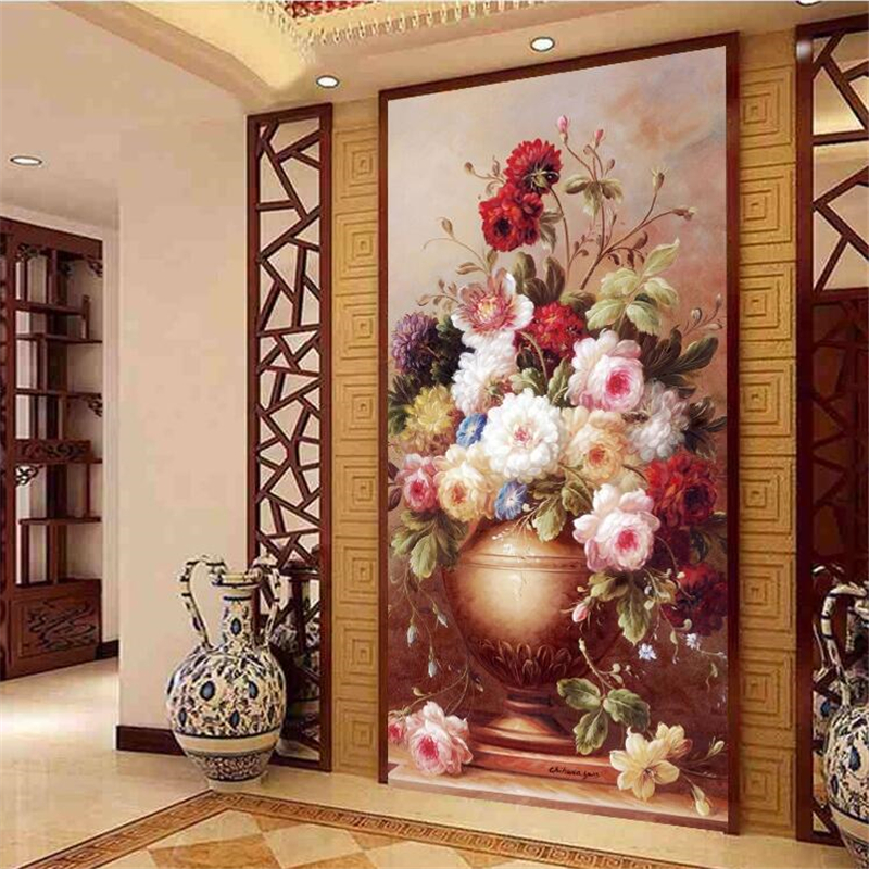 Us 8 85 41 Off Beibehang Custom Wallpaper 3d Aesthetic Vase Oil Painting Arcade Aisle Corridor Decorative Painting Papel De Parede 3d Wallpaper In
