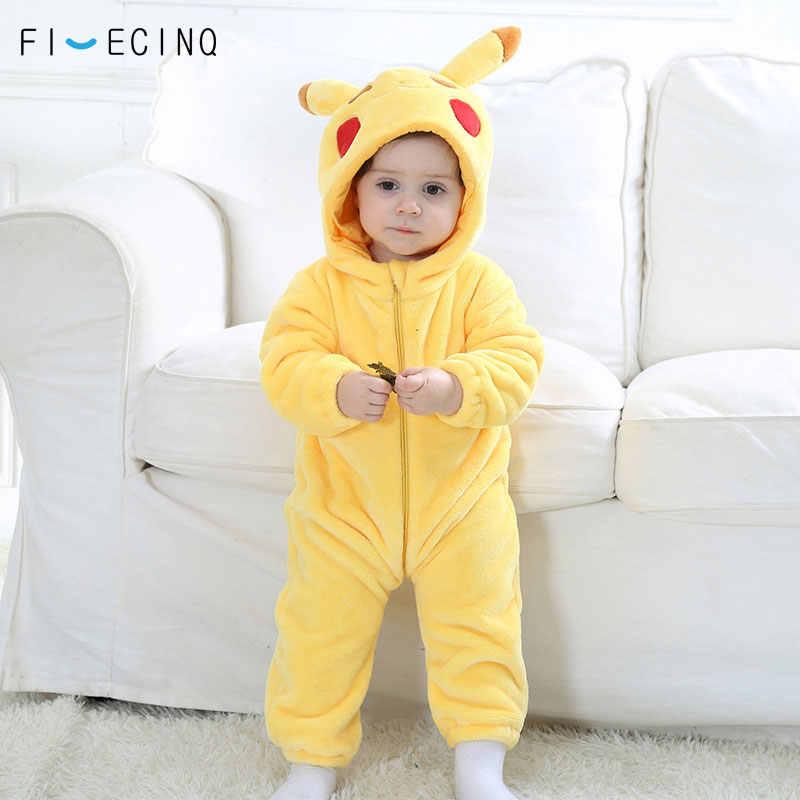 Пикачу Kigurumi Ребенка Onesie аниме желтый костюм косплей Милая Детская  Пижама фланель теплый мягкий Боди Зима d20851dee11fa