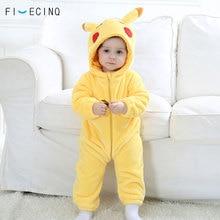 פיקה Kigurumis תינוק סרבל תינוקות אנימה קוספליי תלבושות צהוב חמוד תינוקות פיג מה פלנל חם רך בגד גוף חורף בית ללבוש מפואר