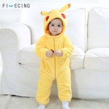 Pika Kigurumi Baby Onesie Anime Cosplay Costume Yellow Cute Infant Pajama Flannel Warm Soft Bodysuit Winter Home Wear Fancy