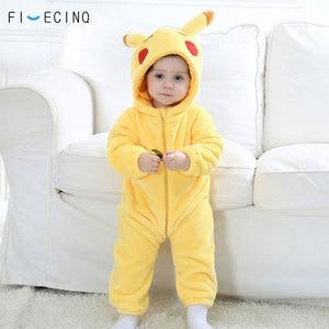 Image 1 - Pika Kigurumis Baby Onesie Anime Cosplay Costume Yellow Cute Infant Pajama Flannel Warm Soft Bodysuit Winter Home Wear Fancy