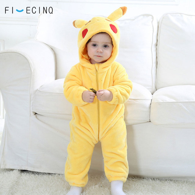 Pika Kigurumis Baby Onesie Anime Cosplay Costume Yellow Cute Infant Pajama Flannel Warm Soft Bodysuit Winter Home Wear Fancy