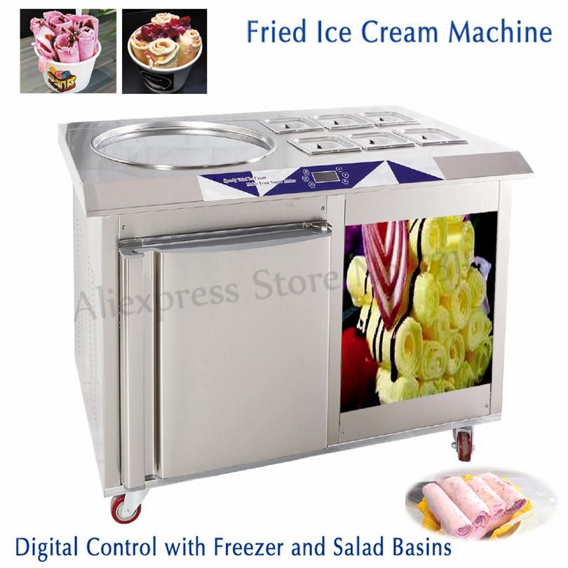 55cm Single Pan 6 Pots Roll Ice Cream Making Machine Fried Yogurt Icecream Rolls Maker With Built In Freezer