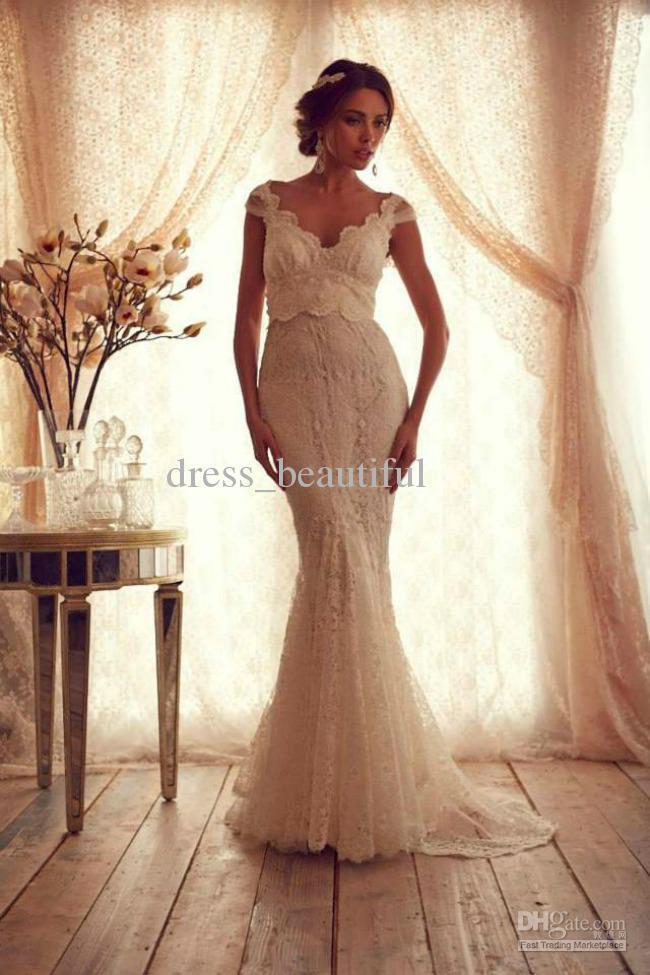 Mermaid Trumpet Portrait Sleeve V Neck line Floor Length Sweep Train Sheer Straps Applique Zipper Lace Ivory Wedding Dresses in Wedding Dresses from Weddings Events