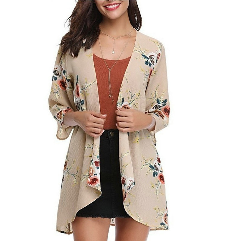 ZOGAA Women Summer Chiffon Blouses Plus Size Floral Cardigan Breathable Sunscreen Women Shirts Casual Cover Up Loose Female Tops in Blouses amp Shirts from Women 39 s Clothing