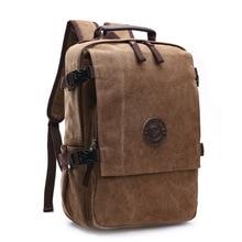 Высококачественный холщовый рюкзак для мужчин, однотонные сумки для ноутбука 15,6 дюйма, превосходный винтажный уличный дизайн, прочный, новый тренд, классический
