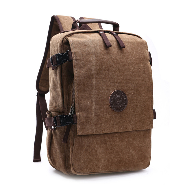 High Grade Canvas Backpack Men Solid Color Laptop Bags 15.6inch Superior Vintage Outdoor Design Durable New Trend Classic