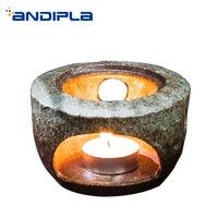 Vintage Warmer Warm Tea Coffee Stove Ceramic Coarse Pottery Base Teapot Heater Candle Heating Tea Ceremony Accessories Decor