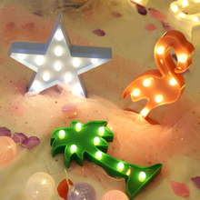 3D Flamingo Night Lights 8 Style Marquee LED Letter Night Lamp For Baby Bedroom Decoration Kids Gift cute letter flamingo led night light for baby pineapple pendant lamp cactus wall lamp marquee led for home christmas decoration