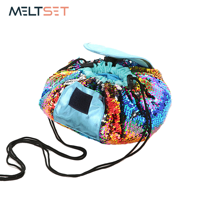 7f57d3a20ecf Mermaid Sequins Makeup Storage Bag Organizer Travel Large Capacity Round Cosmetic  Pouch Drawstring Toiletry Bag Tote
