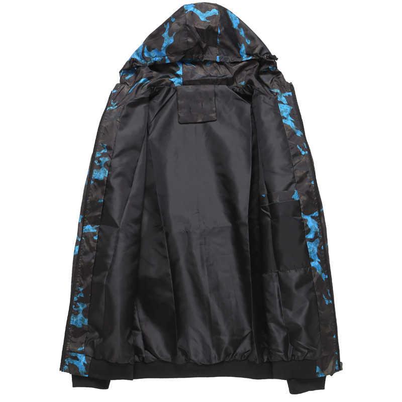 2019 春秋メンズカジュアル迷彩パーカージャケット男性防水服メンズウインドブレーカーコートの男性生き抜くプラスサイズ 4XL