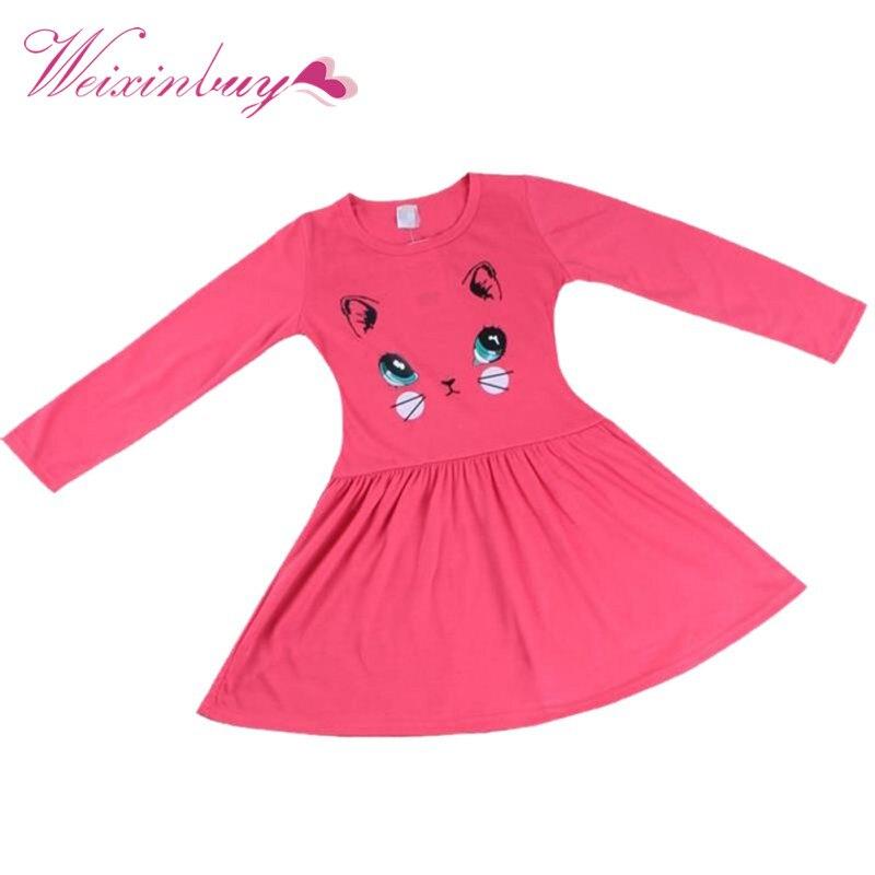Dress Vestidos Baby Girls Dress Cartoon Red Cotton Princess Long Sleeve Cat Printed Dress Party Dresses toddlers girls dots deer pleated cotton dress long sleeve dresses
