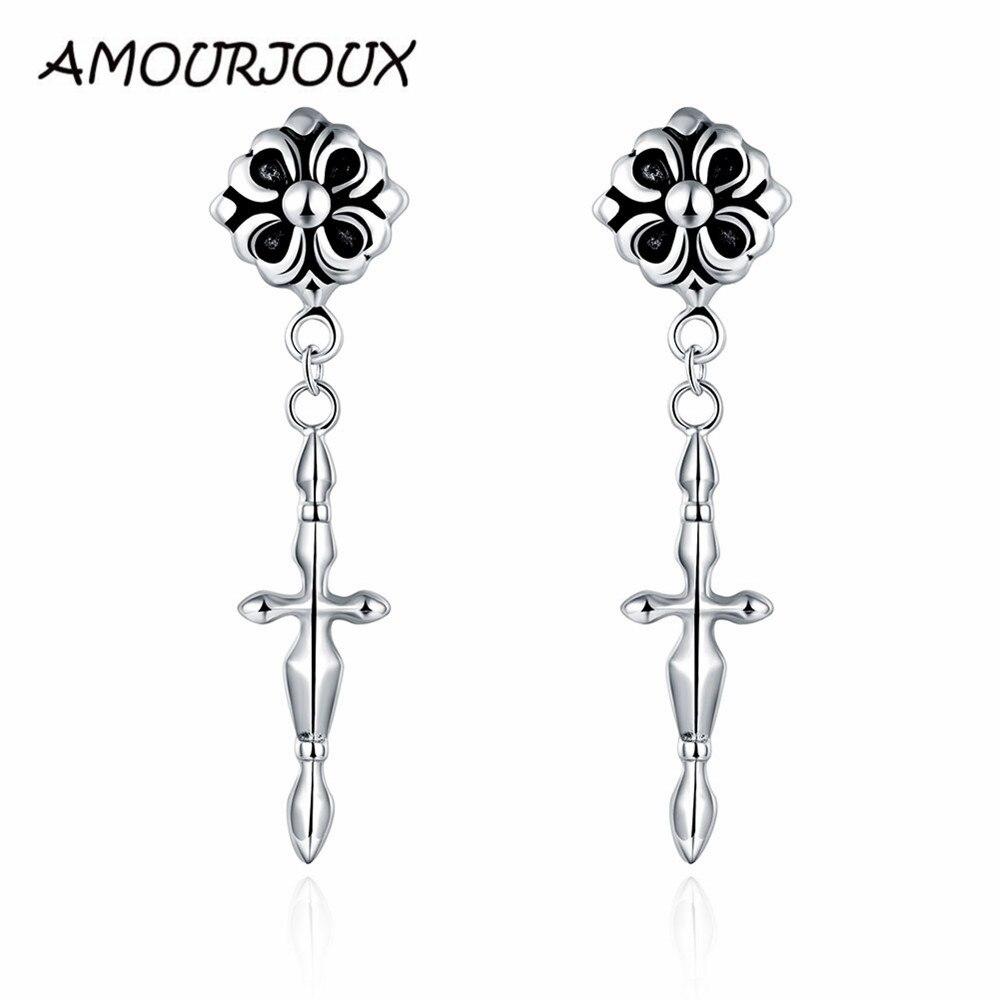 Amourjoux Punk Jewelry 316l Stainless Steel Long Cross Tassels Dangling  Earrings Men Woman Jewelry Earring E007