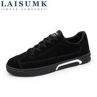 2018 LAISUMK Men Casual Canvas Shoes Gray RED BLACK Color Flats Walking Shoes Men Breathable Zapatillas