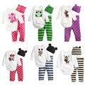 Bebé recién nacido Niños Niñas Juego del Mono de Manga Larga + Hat + Pants Niño Infantil Primavera Autunm Ropa de Bebé Conjuntos