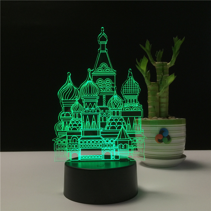 Led Lamps Castle Shape 3d Night Light Lamp 7 Color Night Light For Christmas Child Gift Usb Decoration Table Lamp Christmas Holiday Gift Low Price Led Night Lights