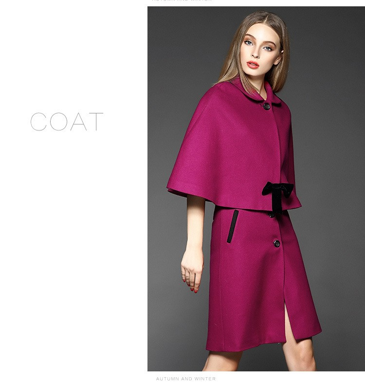 C Style Wool Cashmere Manteau Coat Skirt Suit with Bow Decoration Winter(2)